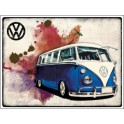 Metalen bord VW camper Grunge dark blue