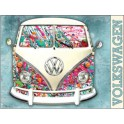VW camper paint splat op metalen plaat