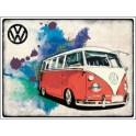 Volkswagen camper grunge red op metalen bord