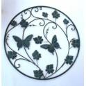 Metalen wanddecoratie groen met vlinders