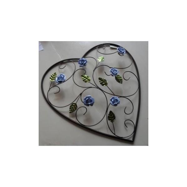 brocante muurdecoratie hart met roosjes